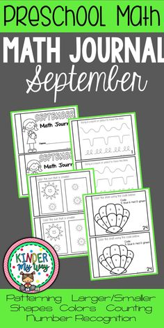 This Preschool September Math Journal is best for you preschool, PreK, Transitional Kindergarten, and early childhood classroom students. This bundle contains 25 pages of fun and engaging math activities including basic operations, measurement, number recognition, and writing.. It's perfect for math centers or stations. Use these journals for morning work routines, independent work, whole group, small groups, and early or fast finisher activities. {PreKindergarten, TK}