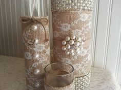 LARGE BURLAP and Lace Vase Victorian Rustic Barn Wedding Listing is for ONE Vase on Etsy, $20.00