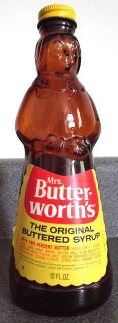 Mrs. Butterworth's syrup...in the glass bottle! When they were empty, we would pain them with the left over paint from our paint by numbers kit!