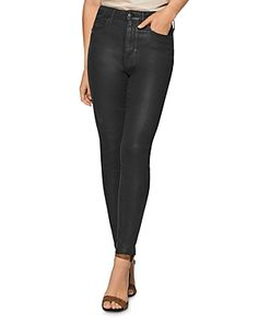 Bcbgeneration Coated Raw-edge Skinny Jeans In Jet Black Raw Edge, Bcbgeneration, Black Women, Jet, Leather Pants, Skinny Jeans, Clothes, Collection, Shopping