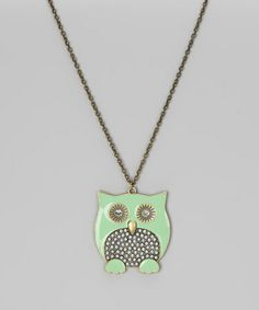 Look what I found on #zulily! Mint Owl Pendant Necklace by ZAD #zulilyfinds