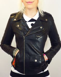 Lilly Retro Fifties Indie Leather Biker Jacket (B) | atomretro.com