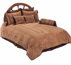 """Patched Two-Tone Star"" Western 4-Piece Bedding Set - Super Twin"