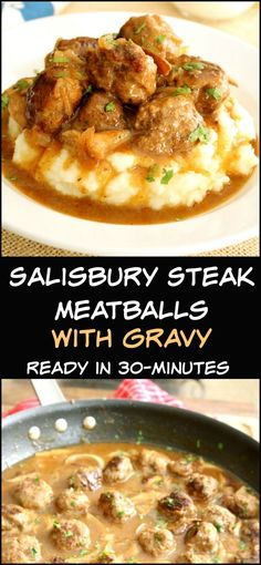 These Salisbury Steak Meatballs with Mushroom Gravy are classic comfort food. Th… Diese Salisbury Steak Meatballs mit Mushroom Gravy sind klassische Hausmannskost. Dieses unglaublich leckere Abendessen Rezept ist in ca. Salisbury Steak Meatballs, Meatballs In Gravy, Recipes With Meatballs, Dinner With Meatballs, What Is Salisbury Steak, Meatball Dinner Ideas, Salisbury Steak Gravy, Meatball Meals, Frozen Meatball Recipes