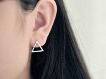 925 sterling silver triangle earring stud earring