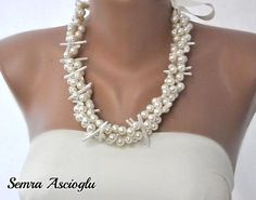 Beach Weddings Mother of Pearl and Pearl Necklace, brides, bridesmaids, on Etsy, $84.00