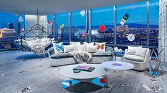 damien hirst designs opulent las vegas sky villa for palms casino resort - Las Vegas Suites, Hotel Suites, Luxury Suites, Perle Rare, Palms Hotel, Penthouse Suite, Hotels, Damien Hirst, Contemporary Interior Design