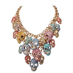 Skull Head Cluster Statement Necklace from Jane Stone. Saved to Quick Saves. #skullnecklace.