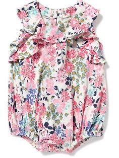 Floral-Print Bubble Romper for Baby