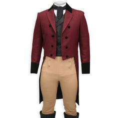 Regency Tailcoat Burgundy with Velvet Trim (310 NZD) ❤ liked on Polyvore featuring costumes, men, costume, steampunk, coats, regency costume, red costumes, red slip, steampunk halloween costume and steam punk costume