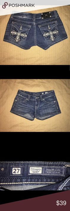 """Miss Me Jeans Short Studded Cross Miss Me Rhinestone Cross Studded Shorts Sz.27   Brand: Miss Me  Material: Cotton/Elastane  Color: Denim  Size: 27  Measurements Laid Flat (inches):-  Waist: 15""""  Condition: Very good condition. Miss Me Jeans"""