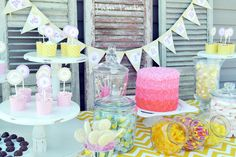 lemonade stand party. love the 'all roses ombre cake'