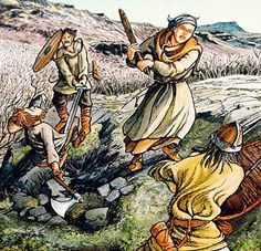 """Gísla saga. When Eyjólfur and his men attacked Gísli in overwhelming numbers, Gísli's wife Auður stood by his side, armed with a club. In the first rush, Gísli killed Helgi by cutting him in two, while Auður struck Eyjólfur so hard that he staggered back down the hill. Gísli turned to his wife and said, """"I knew I had married well but never realized until now how good the match was."""""""