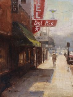 Del Rio, 12 x oil on linen, Terry Miura City Landscape, Urban Landscape, Landscape Paintings, Landscapes, Abstract Landscape, Urban Painting, Building Painting, Illustration, Portraits