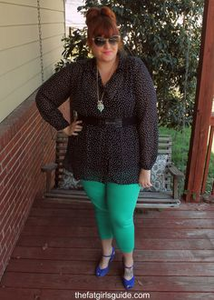 Outfit of the Day: Mint Perfection from @Brittany Garner in the Evans Spot Print Hanky Hem Shirt