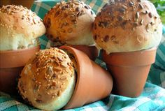 Yes this is homemade bread baked in Flower Pots!!!  What a great gift idea!