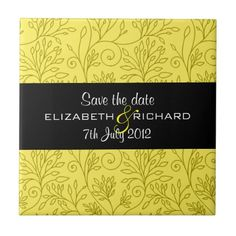 "Vintage floral yellow ""Save the date"" Tile #yellow #wedding #weddinginvitations #savethedate #weddings #zazzle"