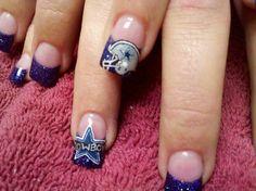 Dallas Cowboys Nail Designs, Dallas Cowboys Nails, Football Nail Designs, Football Nail Art, Get Nails, Fancy Nails, Pretty Nails, Hair And Nails, Nice Nails
