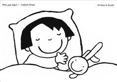 kleurplaat, anna gaat slapen, verteltas, peuters Nars, Snoopy, School, Fictional Characters, Education, Pajama Day, Preschool, Ladies Day, Drawings