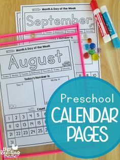 Preschool Calendar Pages {FREE Preschool Calendar Pages - Interactive and FREE for Northern and Southern Hemisphere - This Reading Mama Preschool Learning Activities, Preschool At Home, Free Preschool, Preschool Printables, Preschool Lessons, Preschool Kindergarten, Kids Learning, Calendar For Preschool, Calendar Time Kindergarten