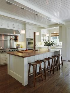 hardwood floor. bead board ceiling. *they don't have to go the same direction and use beams to cover up ceiling beadboard seams