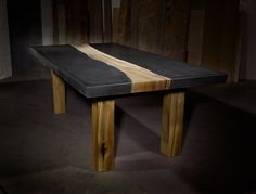 Concrete Table with Wood Inlay. $6,500.00, via Etsy.