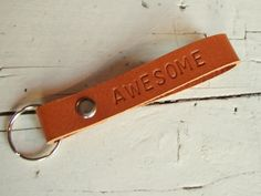 Leather keychain 'Awesome' - madewithpit