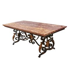 Large French Wrought Iron Table with Marble Top, Century Iron Furniture, Table Furniture, Iron Table, Glass Dining Table, Center Table, Vintage Table, Marble Top, Home Improvement Projects, Wrought Iron
