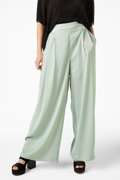 Monki Image 3 of Flowy party trousers in Green Bluish Light