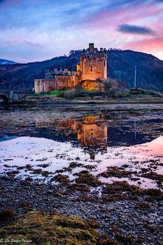 Eilean Donan Castle reflections at dusk, Dornie, Scotland