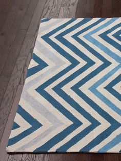 Blue Chevron Hand-Hooked Rug - Enjoy 1cent shipping! by nuLOOM at Gilt. Our showroom is at 225 West 37th st New York NY 10018. Just above Mood Fabrics! home decor, print, design, decor, style, modern, home, house, contemporary, trends, interior design.