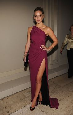 One shoulder dresses are still in for fall 2013. Also this is the color of the year...cranberry.