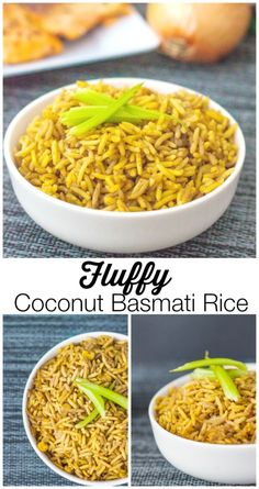 Fluffy Coconut Basmati Rice- This is the BEST and fluffiest rice you'll ever make- Using a secret ingredient, this simple one pot rice #recipe is gluten-free and vegan too!