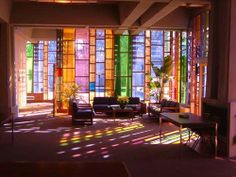 WOW! I love.this! Stained Glass Light, Stained Glass Door, Leaded Glass, Mosaic Glass, Modern Stained Glass, Glass Room, Glass Walls, Sun Room, Coloured Glass