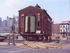 Moving the 1876 historic synagogue, 1969 -  Click through to view the Flickr album!