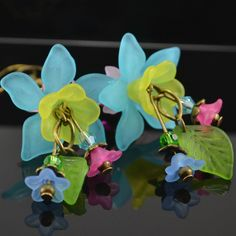 Blue Yellow Pink Lucite Flower Gift Tweens Teens Girls Colourful Fun Earrings
