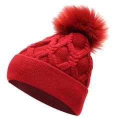 Women FurTalk Real Fox Fur Pom Pom Winter Knit Beanie Bobble Hat ($9.93) ❤ liked on Polyvore featuring accessories, hats, knit cap, knit hat, knit beanie caps, pom beanie and knit pom beanie