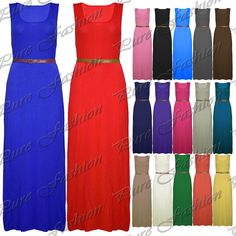 New Womens Belted Casual Plain Vest Racer Muscle Back Ladies Long Maxi Dress Top