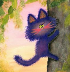 CLIMBING CRANKY CAT Matted Print by CrankyCats on Etsy