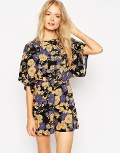 ASOS Playsuit with Kimono Sleeve in Floral Print
