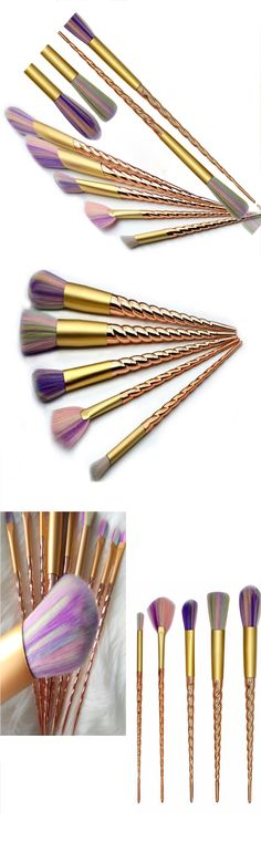 Unicorn inspired makeup brush set featuring golden horn handles and soft pastel colored bristles inspired by a unicorns main.  Pre order these gorgeous brushes at this special  price and get 10 beautiful brushes that include a  fan brush and 9 face and eye brushes.