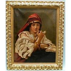 A 19th century continental oil on canvas depicting a Spanish gypsy fortune teller with a pipe. 32…