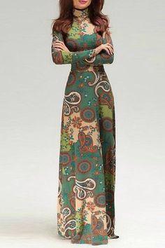 Long Sleeve Paisley Print Maxi Dress