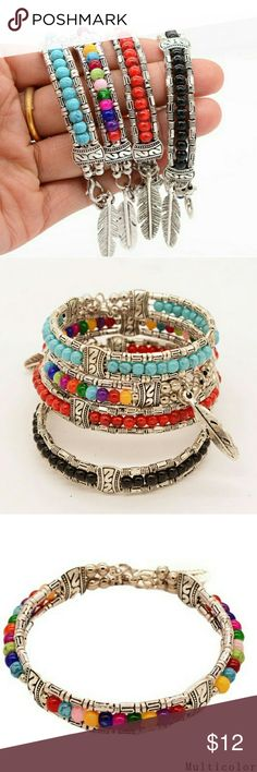 """Silver plated bracelets So pretty!!!! These bracelets are Tibetan silver and the beads are not geniune gemstones, but are so pretty. These bracelets are small. The diameter is 2 1/8"""", 1/4"""" and 3/8"""" at it's widest. Jewelry Bracelets"""
