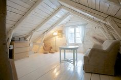 attic space - sweden: Sometimes a simple solution is the coolest. Not sure how this works out temperature wise with no insulation though.