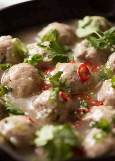 Vietnamese Pork Meatballs for Banh Mi in a black skillet, ready to be served, Meatball Recipes Vietnamese Sandwich, Vietnamese Pork, Vietnamese Recipes, Vietnamese Cuisine, How To Cook Meatballs, Pork Meatballs, Spaghetti And Meatballs, Sandwiches, Recipes