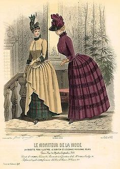 French Fashion LE MONITEUR DE LA MODE #2229 by Jules David Hand Col Eng. 1877 | eBay