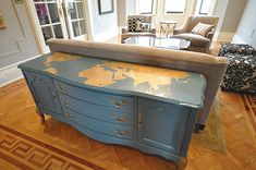 A graphic map of the world painted on top of the buffet - I have to do this!!#painted furniture
