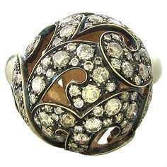 Funky Preziosismi ring featuring ball design decorated with 3.10ctw of fancy diamonds. Available @ oakgem.com