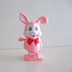 Vintage Wind up Toy Pink Easter Bunny